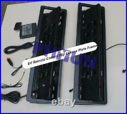 2x EU Remote Control Flip License Plate Frame Car Number Plate Turn Shift Blinds