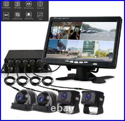 4CH Car Truck DVR Video Recorder+7 HD Monitor+4 Matte Night Cameras Kit
