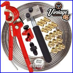 Brass 3/8 24 TPI Male Female Unions 3/16 Copper Nickel Kunifer Brake Pipe 25ft