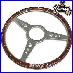Classic Car 15 Flat 9 hole Vintage Style Riveted Wood Rim Steering Wheel