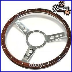 Classic Car 15 Semi Dished 9 hole Riveted Vintage Wood Rim Steering Wheel