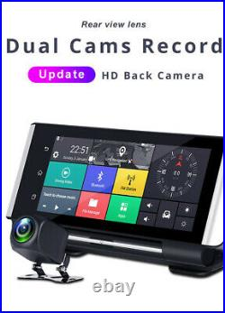 Full HD 1080P 7In Car Dashboard GPS NAV Dual Lens DVR Rearview Driving Recorder