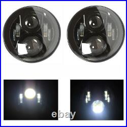 LED Headlights x2 BLACK CRYSTAL 7 Inch Headlamps for Land Rover Defender 7502