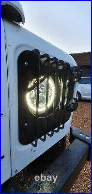 Land Rover Defender 90 110 130 Headlamp surround angry eyes Metal with grille