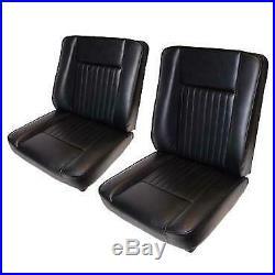 Land Rover Series 2, 2A & 3 Black Deluxe Vinyl Front Seats Set MRC6980 MRC6982
