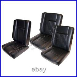 Land Rover Series 2, 2a & 3 New Black Deluxe Vinyl Front Seats Seat Set Da4298